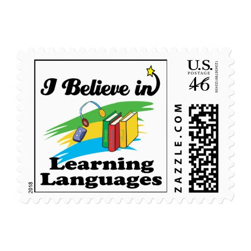 i believe in learning languages postage stamps