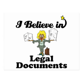 i believe in legal documents postcard
