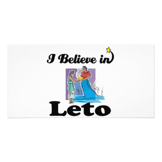 i believe in leto personalized photo card