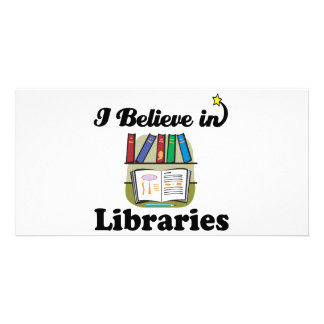i believe in libraries photo greeting card
