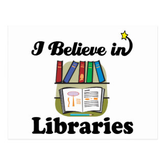 i believe in libraries postcard
