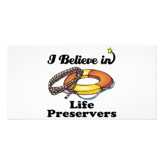 i believe in life preservers personalized photo card
