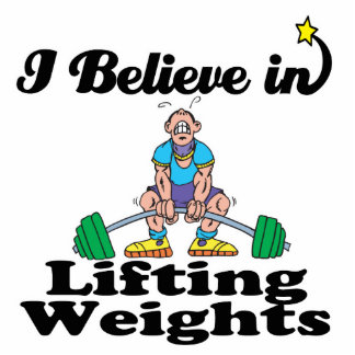i believe in lifting weights standing photo sculpture
