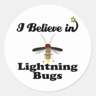 i believe in lightning bugs classic round sticker