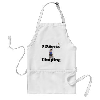 i believe in limping adult apron