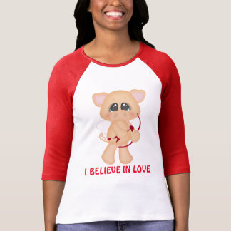 I believe in love cupid pig Valentine t-shirt