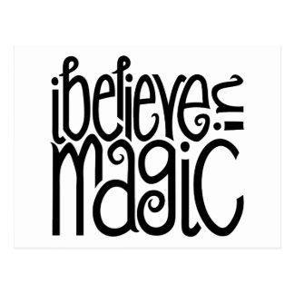 I Believe in Magic black Postcard