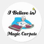i believe in magic carpets round sticker