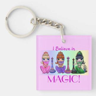 I Believe in Magic! Cute Big Eye Genie Girls Keychain