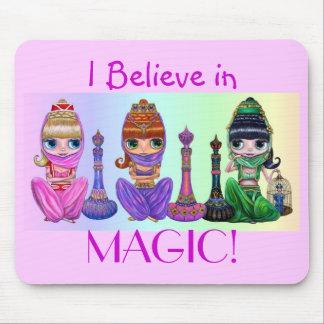 I Believe in Magic! Cute Little Big Eye Genies Mouse Pad