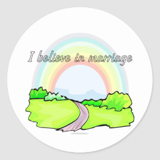 I believe in marriage round stickers