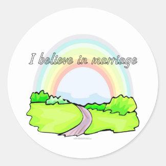I believe in marriage round sticker