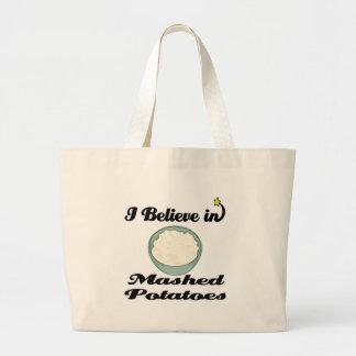 i believe in mashed potatoes jumbo tote bag