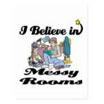 i believe in messy rooms postcards