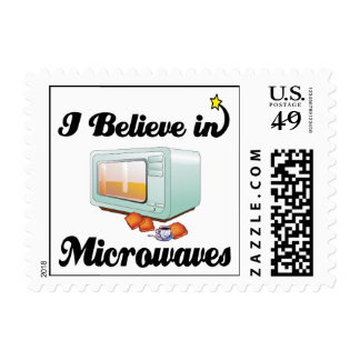 i believe in microwaves postage stamp