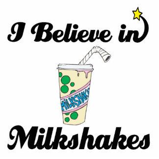i believe in milkshakes standing photo sculpture