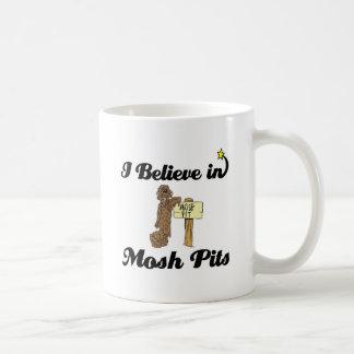 i believe in mosh pits classic white coffee mug