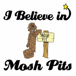 i believe in mosh pits standing photo sculpture