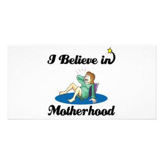 i believe in motherhood photo card