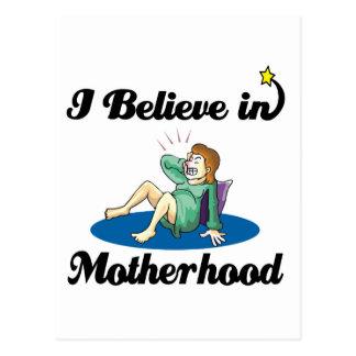 i believe in motherhood postcard
