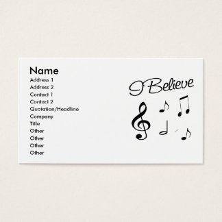 I believe in Music Business Card
