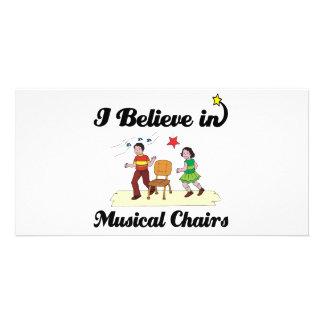 i believe in musical chairs custom photo card