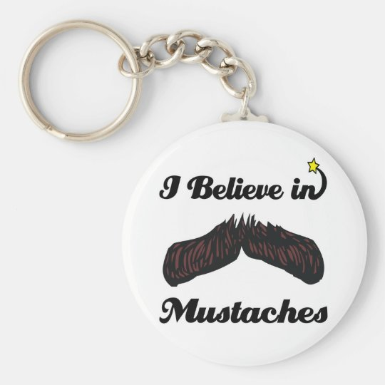i believe in mustaches keychain