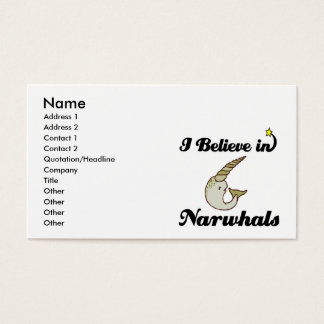 i believe in narwhals business card