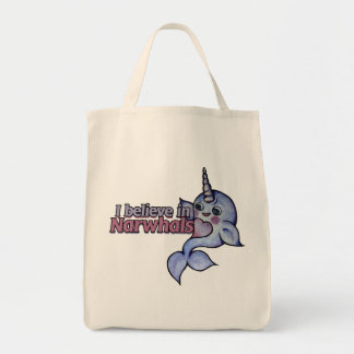 I believe in narwhals tote bag