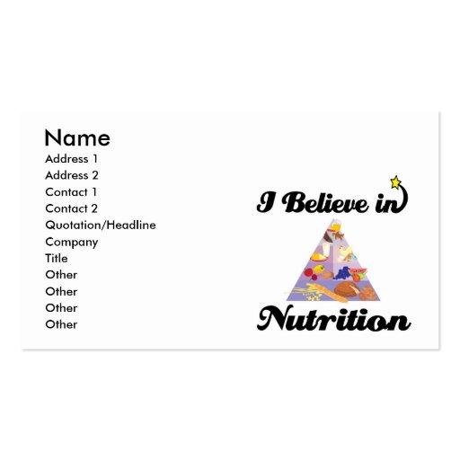 I believe in nutrition business card zazzle for Nutrition business cards