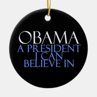 I Believe In Obama Double-Sided Ceramic Round Christmas Ornament