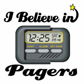 i believe in pagers standing photo sculpture