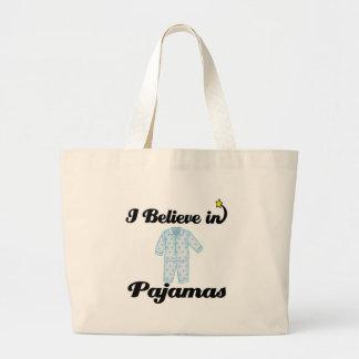 i believe in pajamas jumbo tote bag