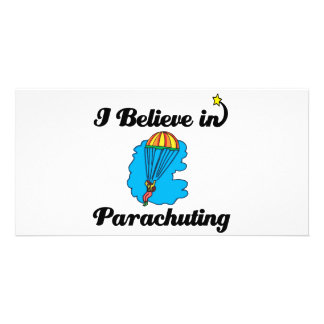 i believe in parachuting photo greeting card