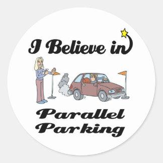 i believe in parallel parking II Stickers