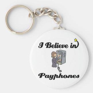 i believe in payphones basic round button keychain