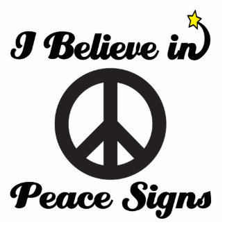 i believe in peace signs standing photo sculpture