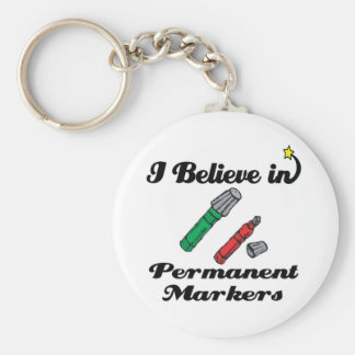 i believe in permanent markers basic round button keychain