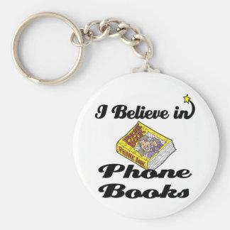 i believe in phone books basic round button keychain
