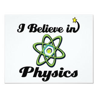 "i believe in physics 4.25"" x 5.5"" invitation card"