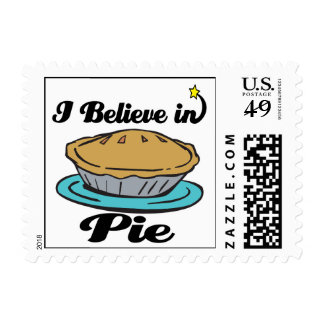 i believe in pie postage stamp