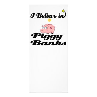 i believe in piggy banks full color rack card