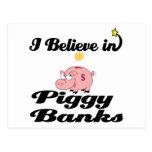 i believe in piggy banks postcard
