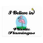 i believe in plastic flamingos postcard