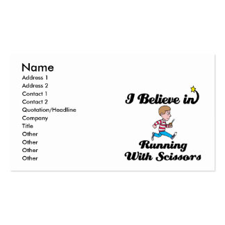 i believe in running with scissors boy business cards