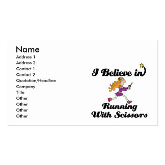 i believe in running with scissors girl business cards