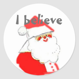 I Believe in Santa Clause Holiday Fun Classic Round Sticker