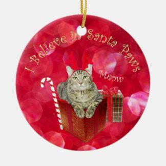 I Believe in Santa Paws Ceramic Ornament