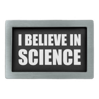 I believe in science white text atheist atheism belt buckle
