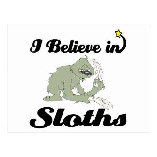 i believe in sloths postcard